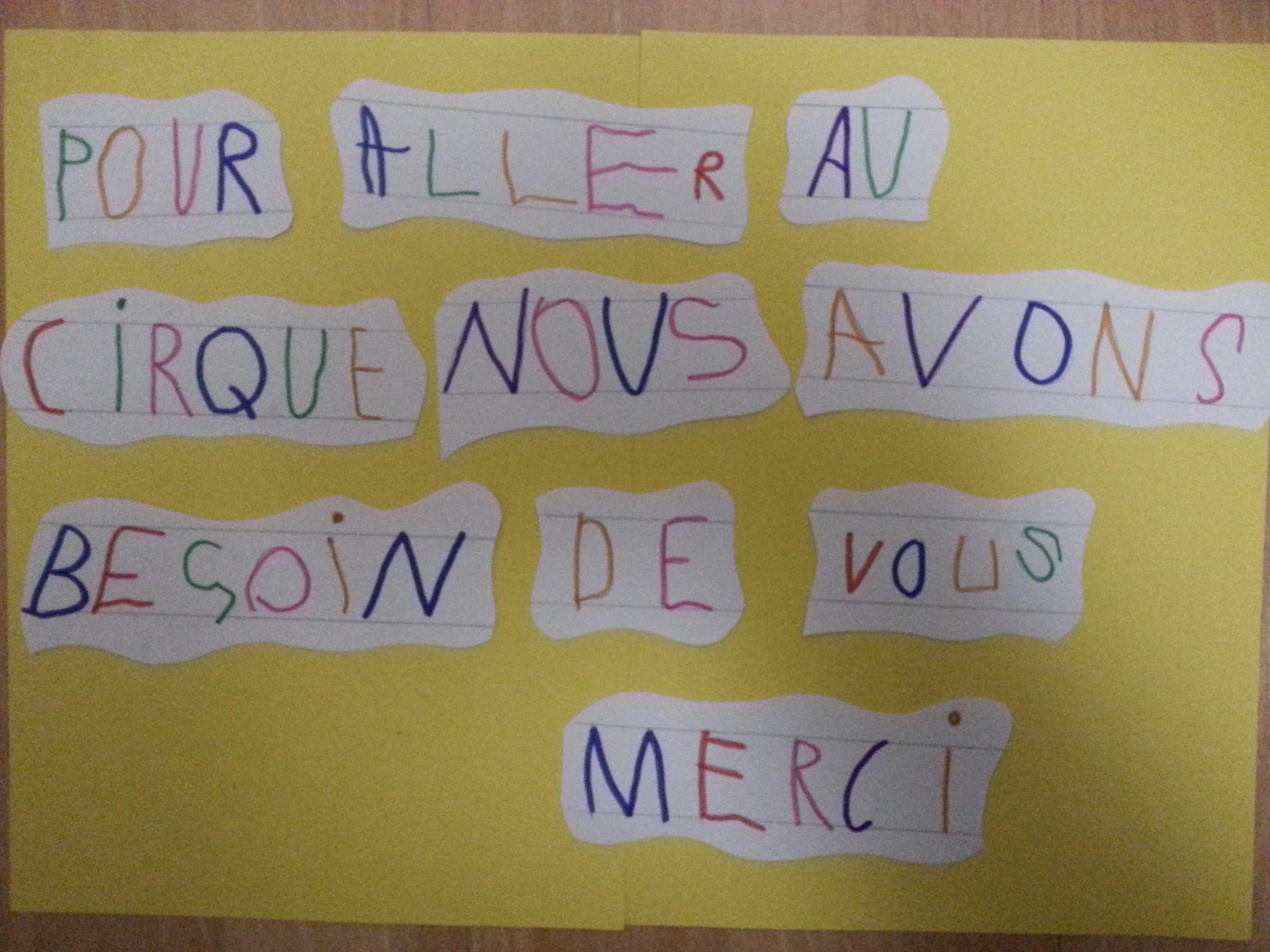 Message écrit par des élèves de Moyenne Section