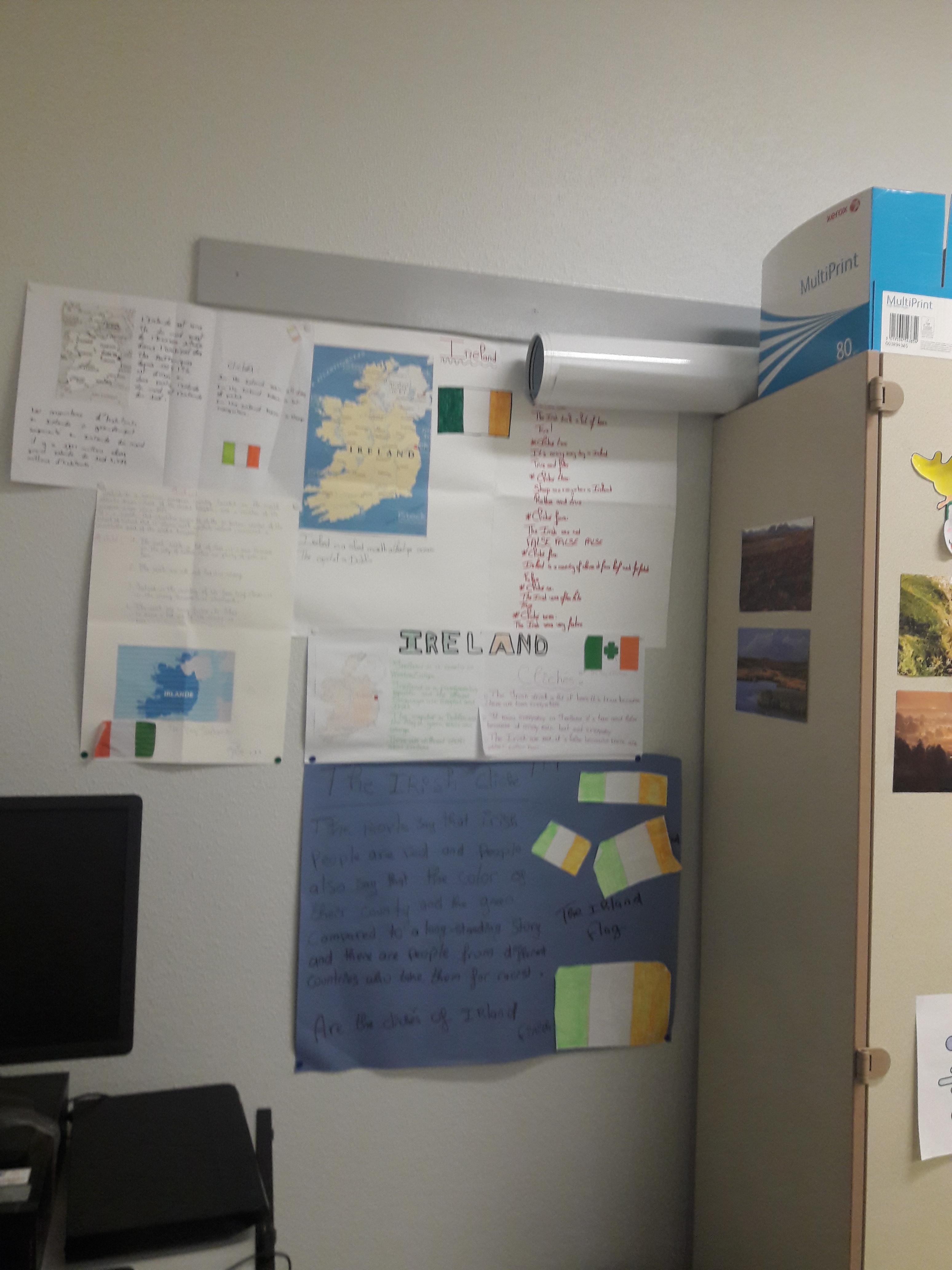 Même notre salle de classe se met aux couleurs de l'Irlande