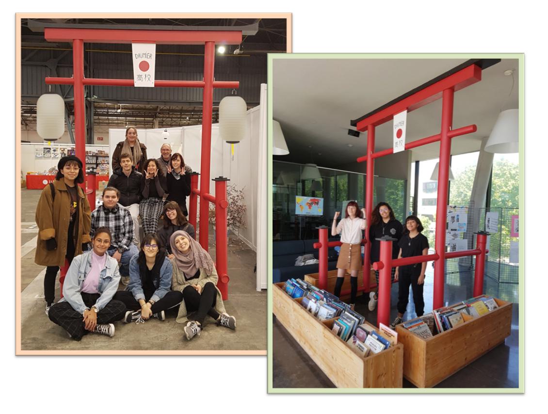 Installation du torii à la Japan Expo Sud puis au CDI du lycée